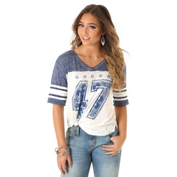 Wrangler - Women's 47 V-Neck Baseball Tee