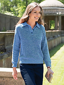 Women's Linen/Cotton Long Sleeve Polo