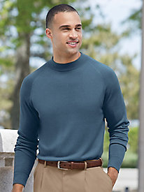 Men's Spun-Silk Long-Sleeved Mockneck