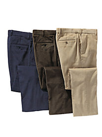 Men's Stretch Corduroy Auto-Sizer Plain Front Pant