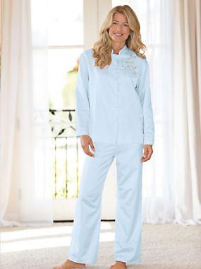 Women's Brushed-Back Satin Pajamas | Norm Thompson