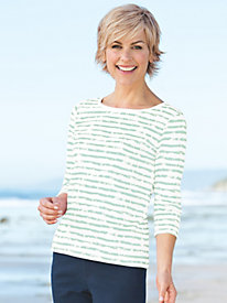Women's Prima Cotton Painted Stripe Tee