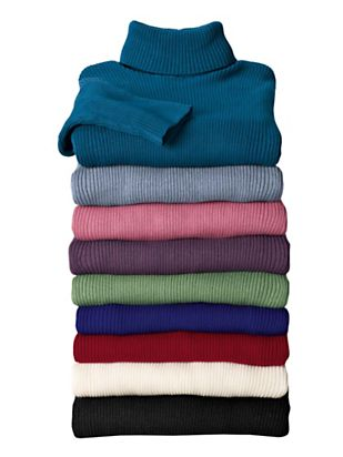 Women's Cotton Ribbed Turtleneck Sweater | Norm Thompson