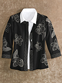 Women's Black & Khaki Embroidered Jacket