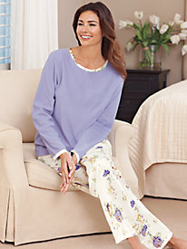 Women's Brushed-Back Satin and Fleece Pajamas by Norm Thompson