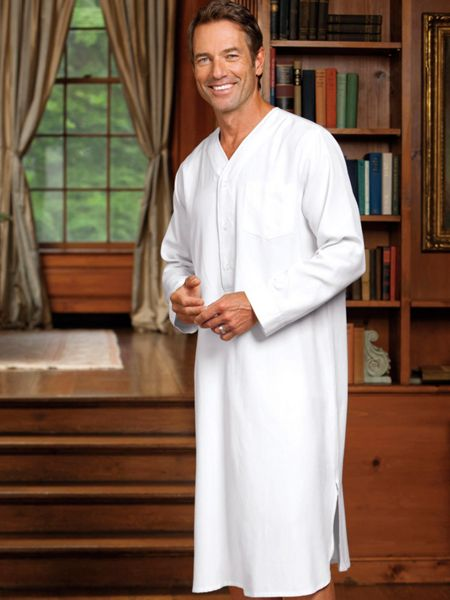 Silk cotton henley nightshirt wintersilks Long cotton sleep shirts