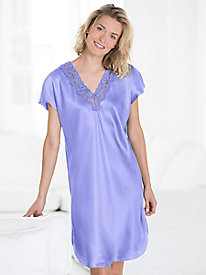 Washable Silk Charmeuse Short Sleeve Nightgown