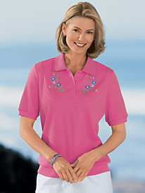 Embroidered Banded Bottom Polo