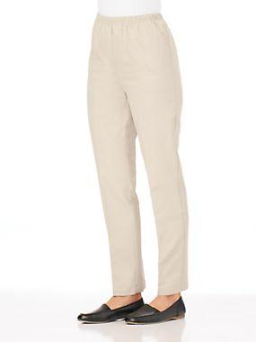 Women's Cotton Twill Pants - Ladies Pull-On Pants   Blair