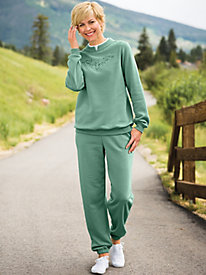 Butterfly Embroidered Fleece Pants Set