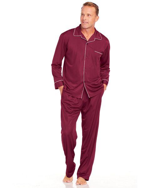 Mens Nylon Tricot Solid Pajamas | Norm Thompson