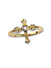 Diamond Heart Cross Ring by Blair