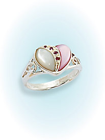 Mother of Pearl Ruby Heart Ring by Blair