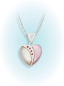 Mother of Pearl Ruby Heart Pendant