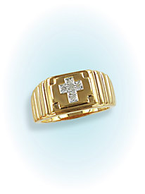Pave Diamond Accent Cross Ring