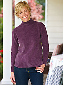 Heathered Chenille Mock Neck Sweater