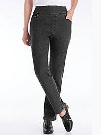 Flat Waist Washed Denim Jeans