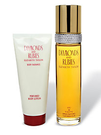 Diamonds & Rubies by Elizabeth Taylor Gift Set (34563)  3.3 oz Eau De Toilette Spray + 3.3 oz Body Lotion Launched by the design house of Elizabeth Taylor in 1993, DIAMONDS & RUBIES is classified as a refined, oriental, woody fragrance. This feminine scent possesses a blend of lilac, rose, peach, orchid, amber and vanilla. It is recommended for evening wear.