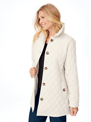Quilted Car Coat - Women's Quilted Coat | Blair : white quilted coat - Adamdwight.com