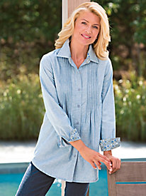 Pintuck Chambray Shirt