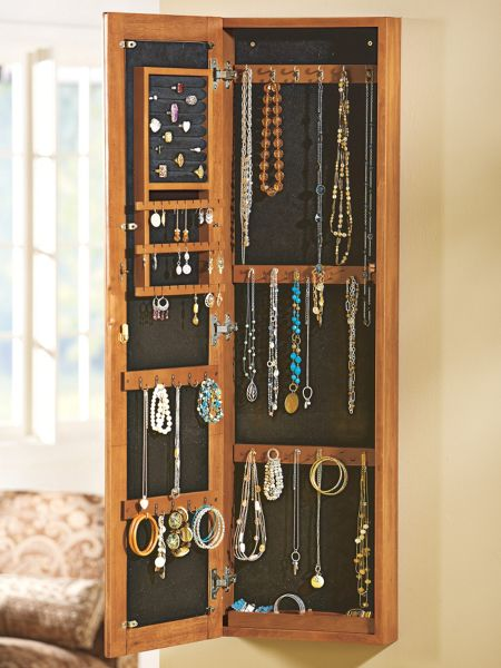 Mirror Jewelry Cabinet Solid Wood Wall Mounted Organizer