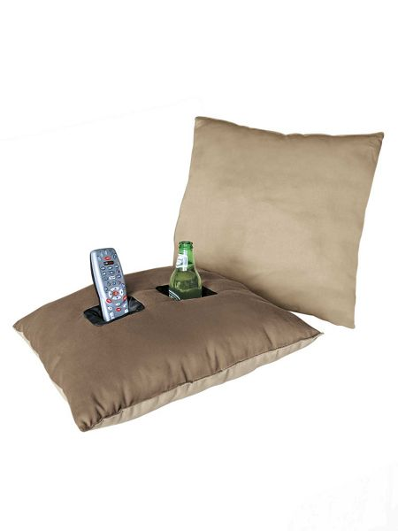 Man Cave Pillow With Cup Holder : Pocket pillow man cave stuff holds beverages solutions