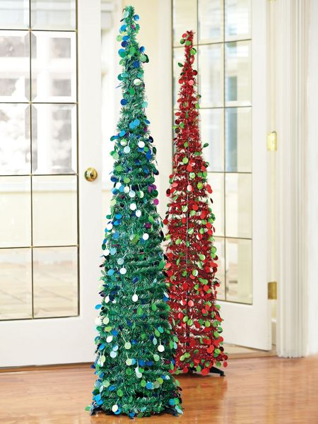 "5FT Slim Tinsel Pop-Up Tree - 15"" round Glittery Tree ..."