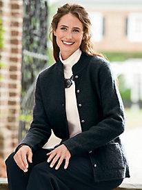 Mandarin-Collar Boiled-Wool Jacket