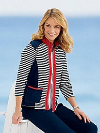 Stripe Color-Block Zip Jacket