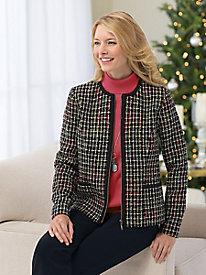 Zip-Front Tweed Jacket...