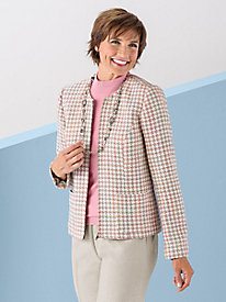Houndstooth Zip-Front Jacket