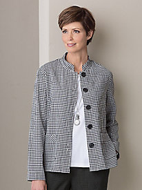 Crinkle Textured Check Jacket
