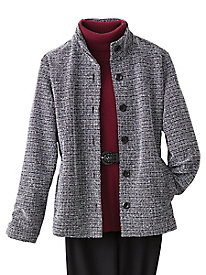 Button Front Tweed Jacket