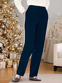 Stretch-Pincord Elastic-Waist Pants