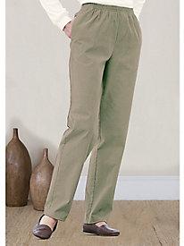 Stretch-Pincord Elastic-Waist Pants
