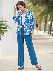 Look-of-Linen Fly-Front Pants by Koret®