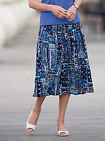 Tiered Crinkle Print Skirt