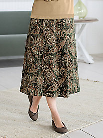 Suedecloth Paisley Print Boot Skirt by Koret®