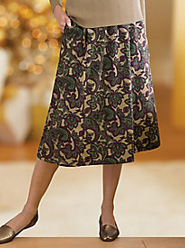 Paisley Print Suedecloth Boot Skirt by Koret®