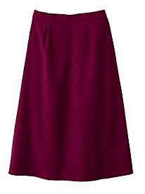Suedecloth Diamond-Stitch Skirt
