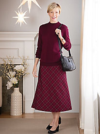 Wool-Luxe Plaid Boot Skirt