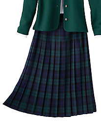 Hip-stitch Pleated Plaid Skirt