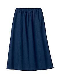 Blended Twill Six-Gore Pull-On Skirt