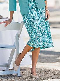 ?Garden Floral? Printed Six-Gore Skirt