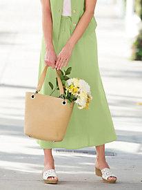 Solid Crinkle Cotton Drawstring Skirt