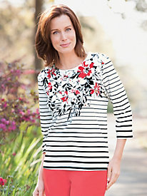 Floral-And-Stripes Tee