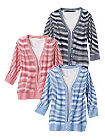 Striped Pique Cardigan