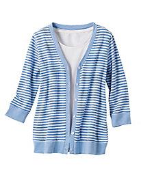 Striped Pique Cardigan
