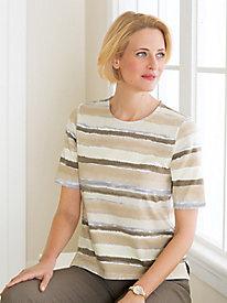 Painterly Stripe Elbow-Sleeve Tee