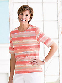 Painterly Stripe Elbow-Sleeve Tee
